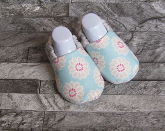 Blue flower design baby booties, available in sizes up to 24 month size, cute unique!