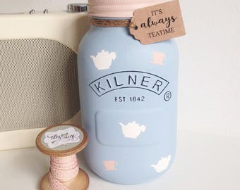 Alice in Wonderland mason Kilner jar 'It's always teatime' - party decor / wedding centrepieces / vase