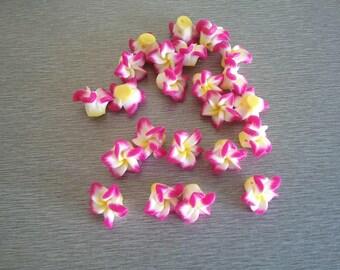 5 15x7x8mm polymer clay flower beads