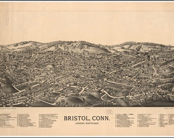 Bristol Conn. Panoramic Map from 1875. This print is a wonderful wall decoration for Den, Office, Man Cave or any wall seeking decor.