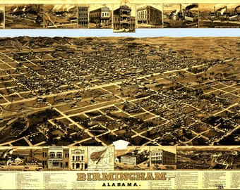 Birmingham AL Panoramic Map dated 1885. This print is a wonderful wall decoration for Den, Office, Man Cave or any wall.