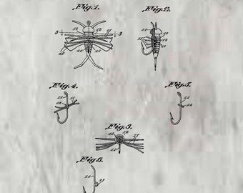 Sponge Rubber Fly Patent #2,242,708 dated May 20, 1941. Fly fishing lures, this patent available in different sizes and backgrounds