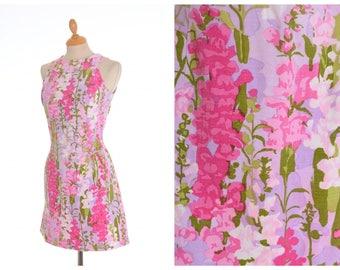Vintage 1960s 1970s Falconetto floral print mod mini dress - size S