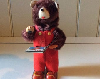 Cubby The Reading Bear Wind-Up Toy/Vintage Wind-Up Toy/ALPS Toy Co./Collectible Toys/Mechanical Toys/Vintage Japanese Toys/Toy Collector