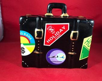 "Travel Money Bank - Vintage Suitcase Piggy Bank - Ceramic Suitcase Money Bank for Travel - 5.5"" x 6"""