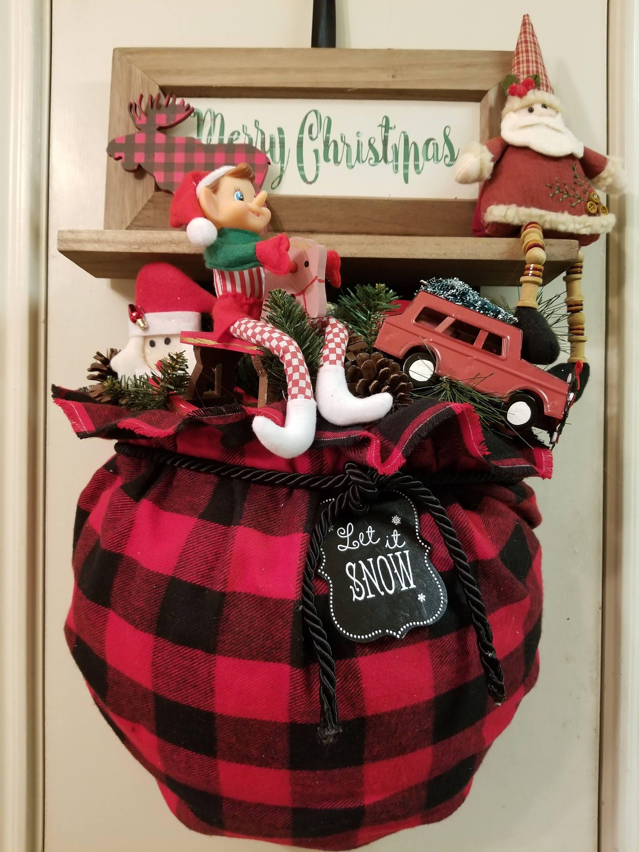 Santa Sack Door Hanger Christmas Wreath Santa Door Hanger