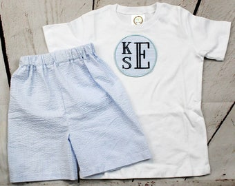 Boys Monogrammed Shirt, Toddler Boys Monogrammed Shirt-  Baby Boys Monogram Shirt-  Monogram Short Set- Size 6m, 12m, 18m, 2t, 3t, 4t, 5t, 6
