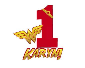 Wonder Woman Decal for Clothing, Super Hero Birthday  T Shirt Design,  Iron On Transfer Decal For Her, Girl , Ages 1 to 6, One to Six