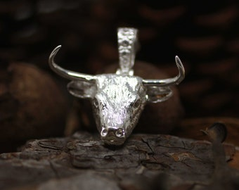 Sterling Silver Bull Head Necklace, Silver Bull Necklace, Large Silver Men Necklace, Silver Longhorn Necklace, Western Jewelry, Taurus