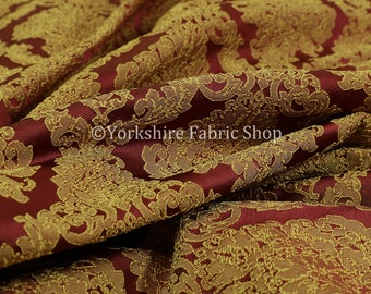 Embroidery Feel Raised Textured Damask Pattern Red Yellow Chenille Upholstery Fabric - Sold By The 10 Metre