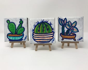 3 Little Succulents and Cactus Painting on Canvas