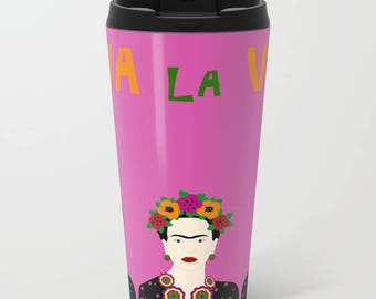 Frida Kahlo metal travel mug-Fuchsia mug-Pink travel cup-Personalized-Customizable-Mexican-Cool-Etsy gift-Coffee lover gift-Colourful mug