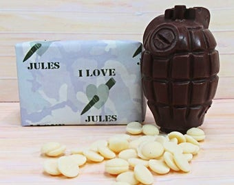 Valentines Chocolate, milk chocolate grenade with white chocolate buttons