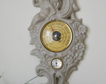 Barometer Thermometer, weathered gray pepper.