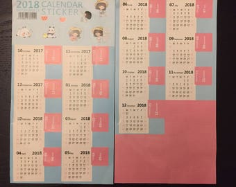 2018 Monthly Calendar Tab Stickers for your Planner/ Journal
