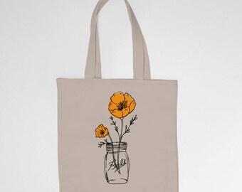 California State Poppy, Wildflower, Mason Jar 6 oz Canvas Tote