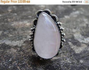 Sale Sterling Silver Natural ROSE Quartz Ring Size 10 - Sterling Silver Ring - Gemstone Ring - Rose QUARTZ - Natural Stone Ring size 10