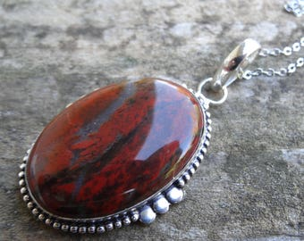 "Sterling silver Natural Stone Red JASPER Pendant Necklace - 18"" Sterling silver Chain - Handmade Pendant - Natural Stone Necklace -"