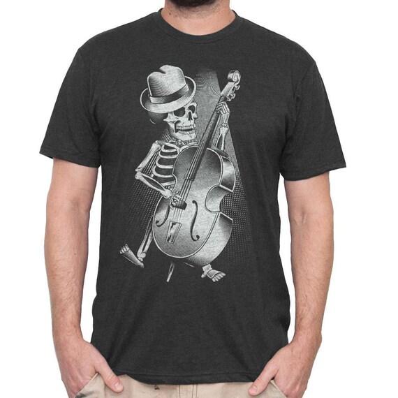 Halloween Bass Guitar Shirt - Mens Bass Player Shirt - Skeleton Playing Bass Hand Screen Printed on a Mens T-shirt