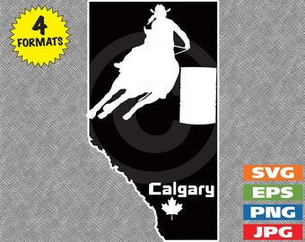 Calgary Alberta Canada with Female Barrel Racer Image - svg cutting file PLUS eps/vector, jpg, png - 300dpi