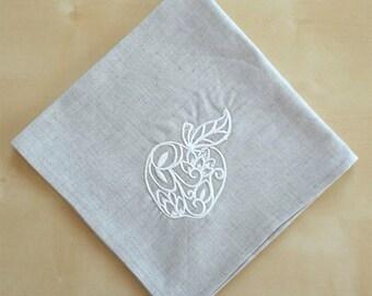 Apple Rosh Hashana Napkin Jewish Gift Shana Tova set Linen/Cotton Jewish home  Jewish  Set of 2 latte Napkins Shanah Tovah Beig napkins