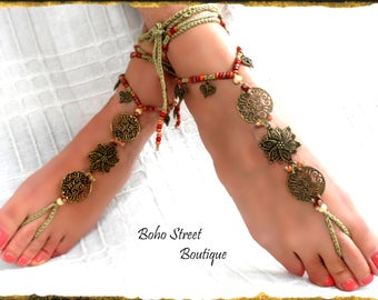 SALE! Pair Crochet Yoga sandals, barefoot sandals, beaded sandals, Beach sandals, Anklet Sandals,native American, Boho sandals, hippie