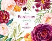Bordeaux Elements, watercolor floral clipart, burgundy, purple, separate, bridal, wedding, flowers, peony, marsala, trend, bridal, blush