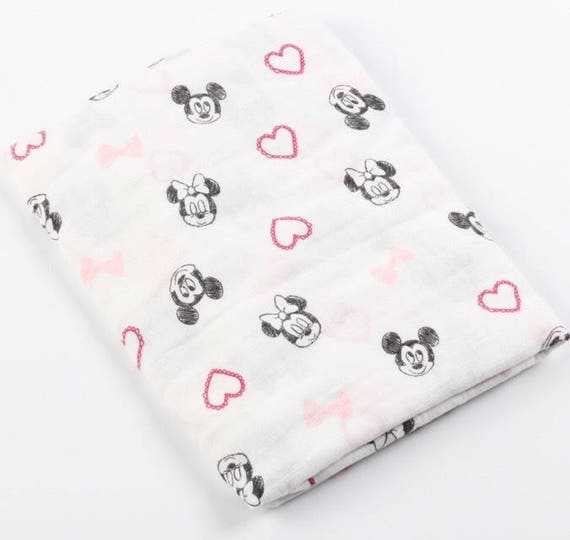 Double gauze swaddle, Muslin swaddle, Minnie Mouse, Mickey Mouse, swaddle blanket, newborn, light weight breathable baby blanket 47x 47