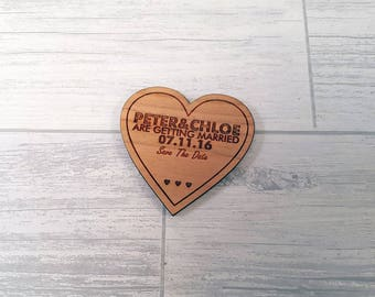 Wooden Save the Date Heart Magnets ideal for Wedding or special events - 00060