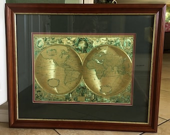 The World.  Henricus Hondius: Nova Totius Terrarum Orbis Geographica Ac Hydrographica Tabula ~ Gold/Green Matted and Framed!!