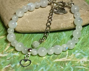 Rainbow Moonstone bracelet with Sterling Silver Heart charm