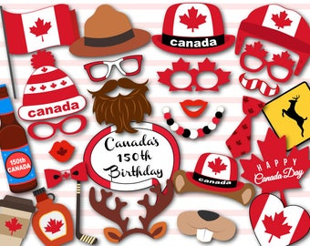 Printable Happy Canada Day Photo Booth Props, Instant Download Canada Day Photo Booth Props, July 1st Canada Day Party PhotoBooth Props 0100