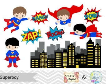 Instant Download Superhero Little Boy Digital Clip Art, Digital Superhero Clipart, Cute Superboy Clipart, Superhero Pop Art Text Bubble 0184