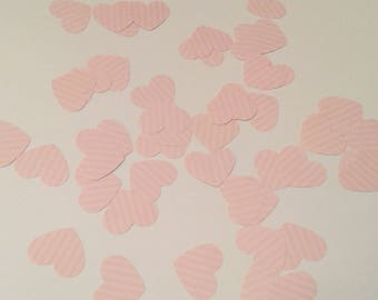 Pink heart confetti, baby shower, wedding confetti, table decor, engagement confetti,  small heart, set of 50