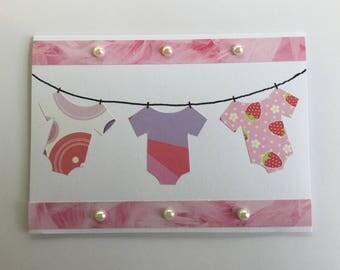 New baby girl card, congratulations baby card, newborn card, baby shower card, baby clothes card, baby birthday