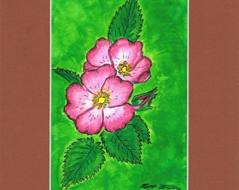 Rose Blossom by Mary Bottom Original Ink and Gouache on Paper 6x9 Matted
