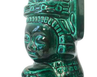 1930s Handmade Kahlua Bottle, Green Glazed Ceramic, Aztec / Tiki / Mayan Design
