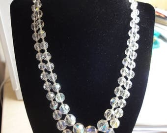 DOUBLE ROW CRYSTAL Necklace from the 50's