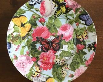 Butterfly Plates, Glass Plates, Decorative Plates, Decoupage Plates, Bake Sale Plates
