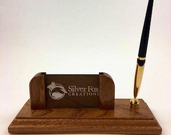 Pen holder business card holder desk sapele and brass handmade