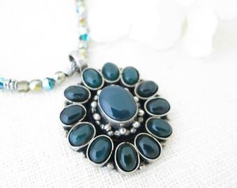 Dark green gemstone necklace, Tibetan silver pendant necklace, Unique flower pendant necklace, Gemstone and pewter necklace
