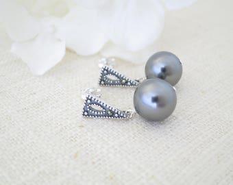 Swarovski dark grey pearl earrings, Marcasite earrings, Simple gray pearl drop earrings, 10mm pearl dangle earring, Business casual earrings