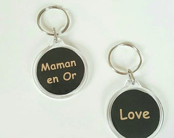 """fabric black gold """"MOM"""" key ring in gold"""