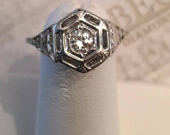 Art Deco Platinum Filigree Hexagonal Top Ring, One Transitional Cut Round Diamond .20 ct J-I1, size 5.5