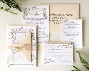 Watercolor Floral Wedding Suite // Calligraphy Invitation // Invitation