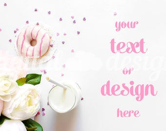 Peony Donuts Milk Photography Mockup White Desktop Stationery Styled Stock Mock up Social Media  Mockup Digital Background Brand Product