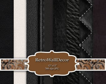 30%OFF Black Leather Scrapbook Cream Leather , Leather Printable Papers  , paper 12x12 Buy 2 Get 1 FREE