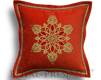 Machine Embroidery Design Snowflake with rubies - 4 sizes