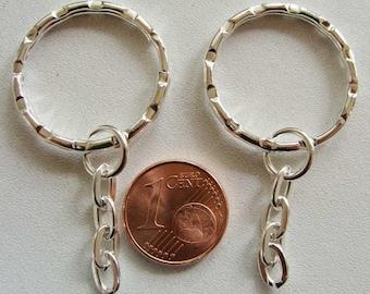 5 ANNEAUX PORTE-CLES métal argenté clair 25mm  et chaine 25mm