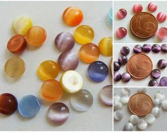 20 Cabochons Ronds 6mm verre OEIL de CHAT couleur unie ou mix
